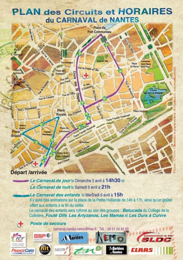 Plan des circuits du Carnaval